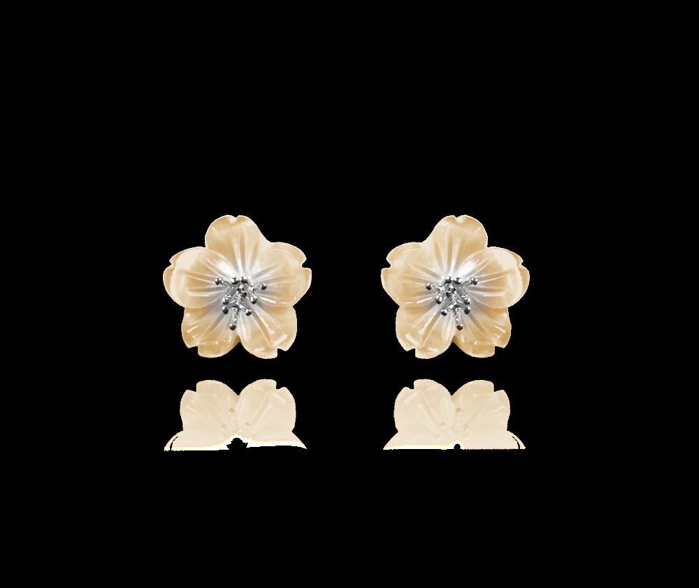 Žluté stříbrné náušnice MINET KYTIČKY