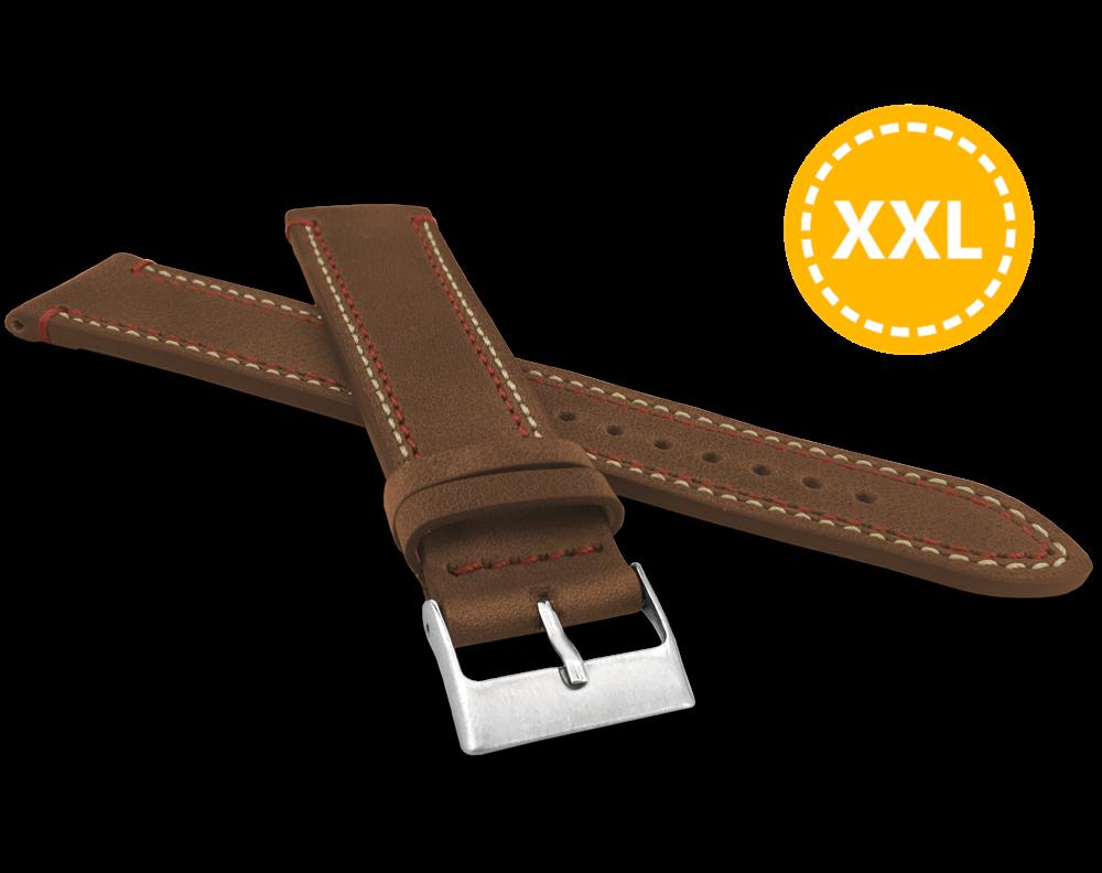 Dvojitě prošitý hnědý řemínek LAVVU SPORT z luxusní kůže Top Grain - 24 XXL