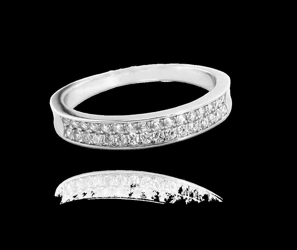 Stříbrný prsten MINET s bílými zirkony vel. 65