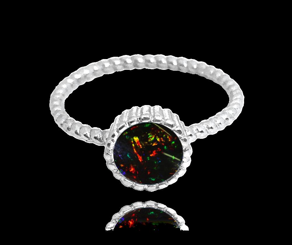 Stříbrný prsten MINET s černým opálkem vel. 51