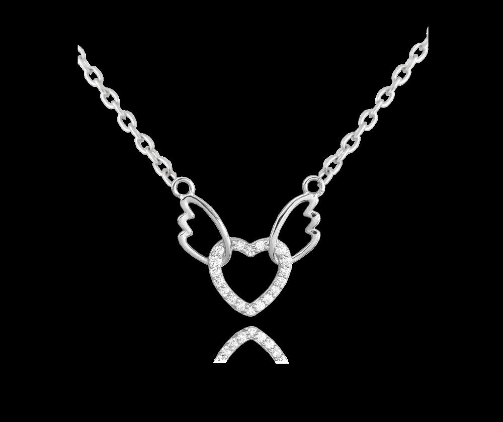 Stříbrný náhrdelník MINET SRDCE s andělskými křídly