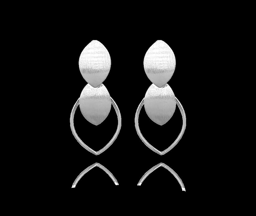 Matné oválné stříbrné náušnice MINET