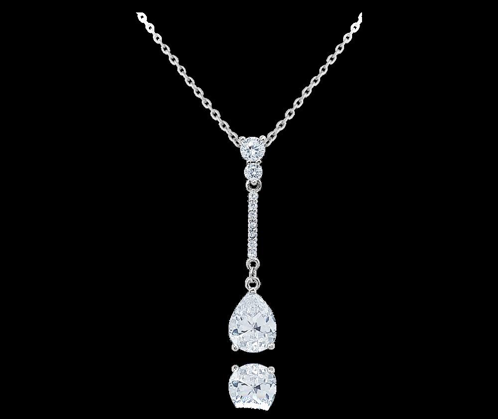 Stříbrný visací náhrdelník MINET s bílými zirkony