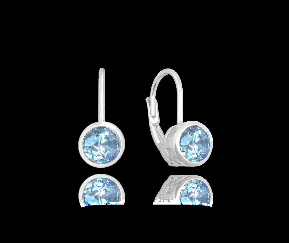 Decentní stříbrné náušnice MINET se světlě modrými zirkony