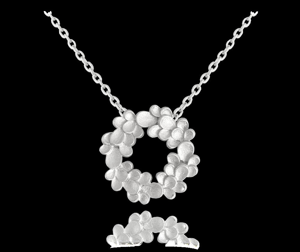 Matný stříbrný náhrdelník MINET EUCALYPTUS