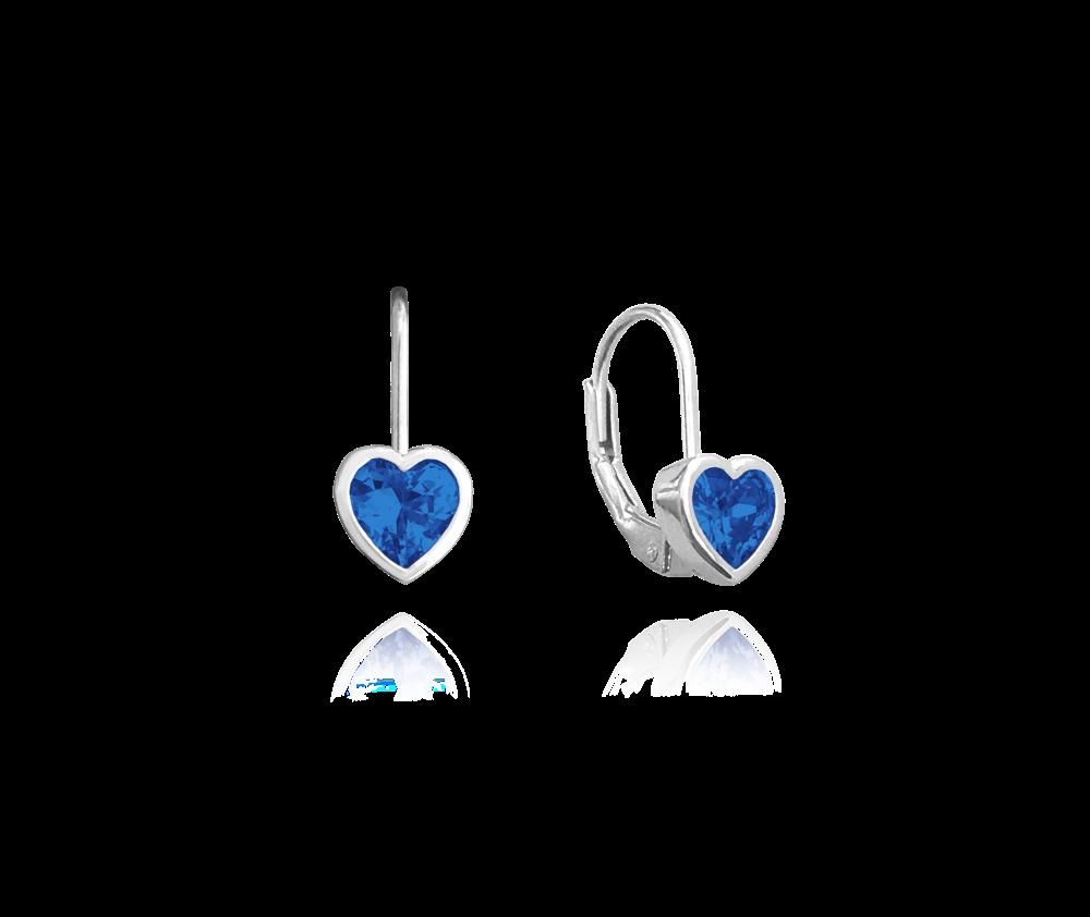 Stříbrné náušnice MINET SRDÍČKA s tmavě modrými zirkony