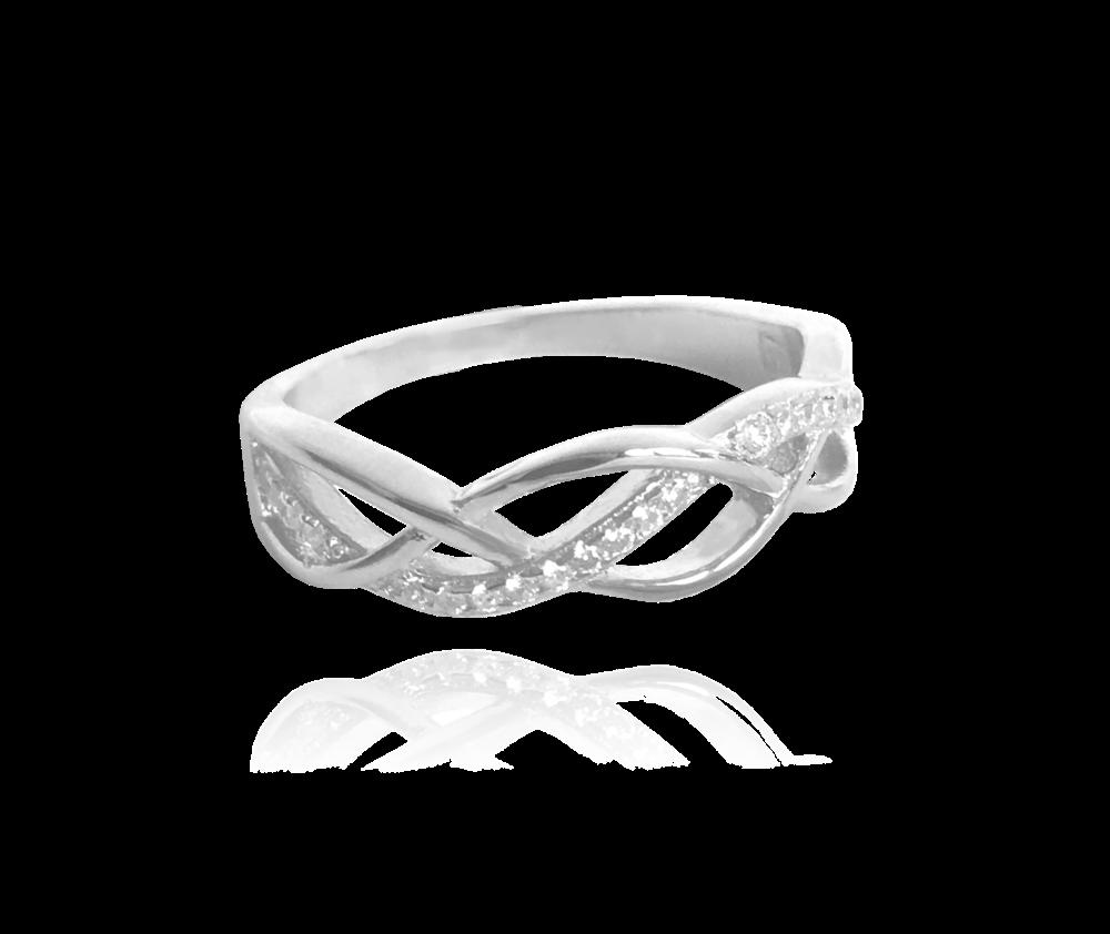 Stříbrný propletený prsten MINET s bílými zirkony vel. 67