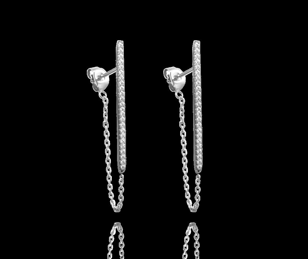 Moderní stříbrné visací náušnice MINET s bílými zirkony