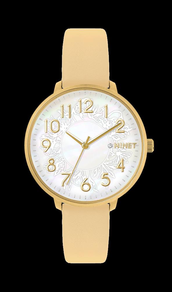 Béžové dámské hodinky MINET PRAGUE Beige Flower