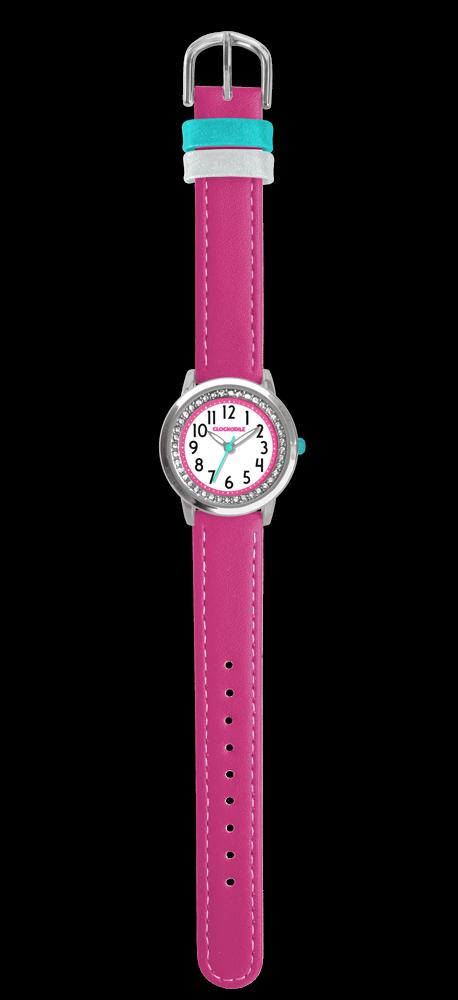 Tmavě růžové třpytivé dívčí hodinky se kamínky CLOCKODILE SPARKLE