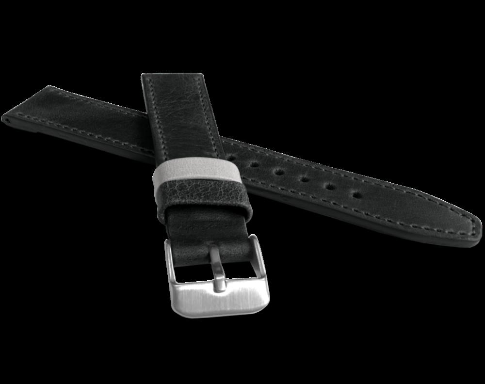 Černý prošitý řemínek LAVVU TAILOR z luxusní kůže Top Grain - 24