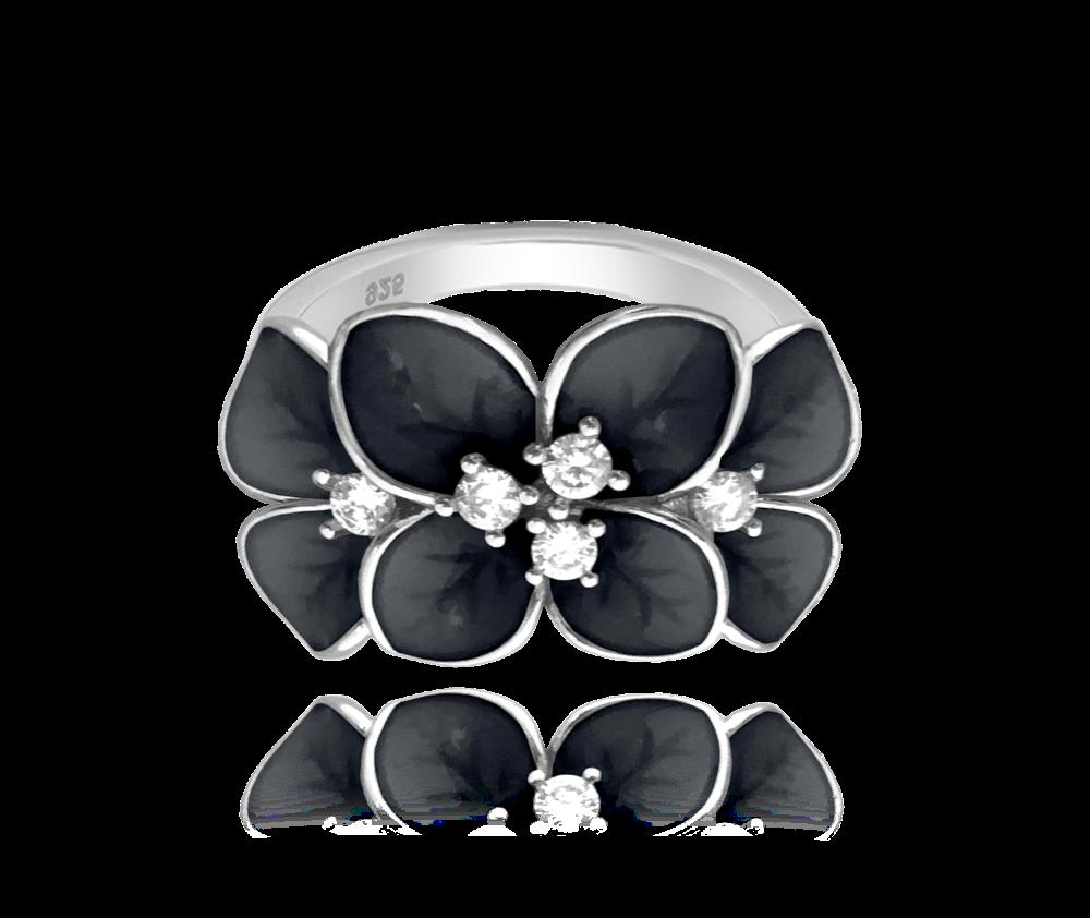 Černý rozkvetlý stříbrný prsten MINET FLOWERS s bílými zirkony vel. 49