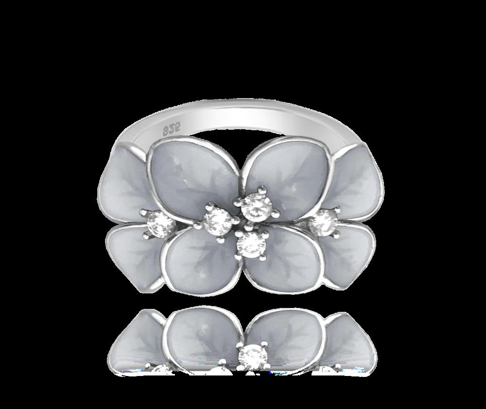 Rozkvetlý stříbrný prsten MINET FLOWERS s bílými zirkony vel. 53