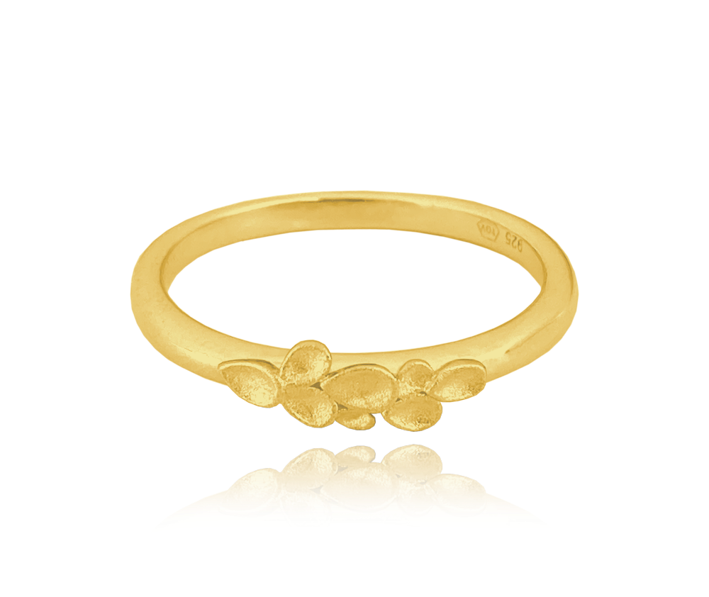 Matný pozlacený stříbrný prsten MINET EUCALYPTUS vel. 58