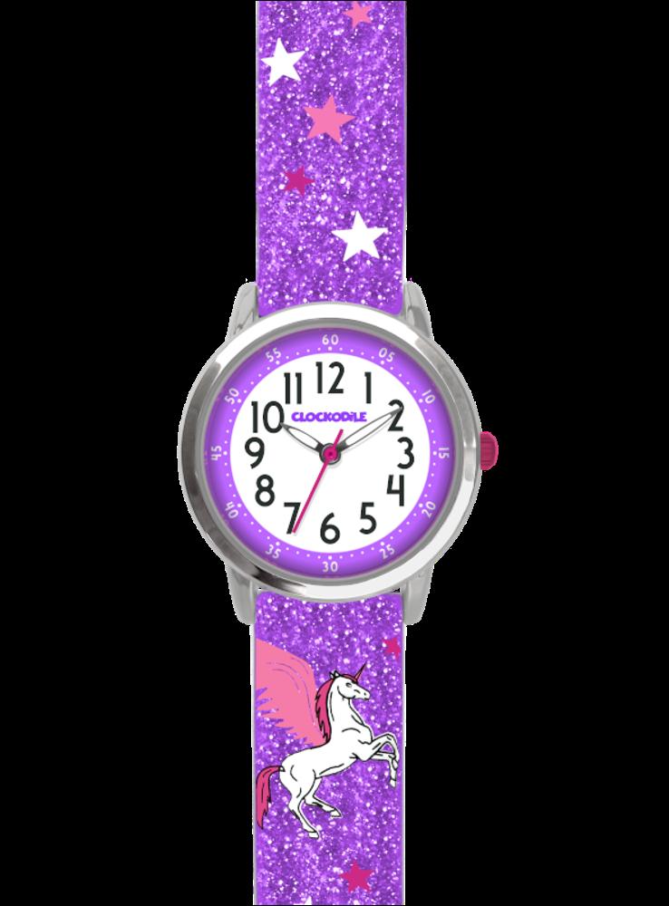 Fialové třpytivé dívčí hodinky s jednorožcem CLOCKODILE UNICORN