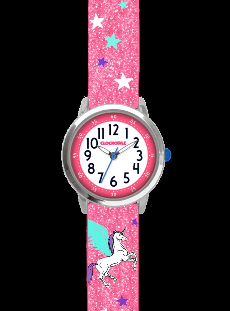 Růžové třpytivé dívčí hodinky s jednorožcem CLOCKODILE UNICORN