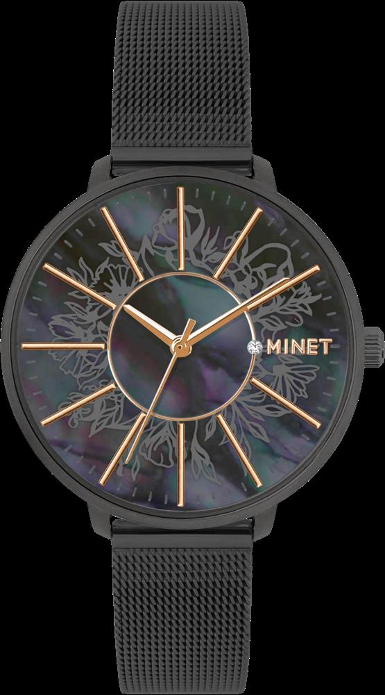Černé dámské hodinky MINET PRAGUE Black Flower MESH