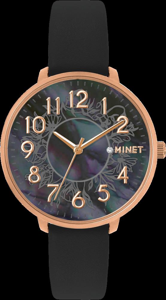 Rose gold dámské hodinky MINET PRAGUE Black Flower s čísly