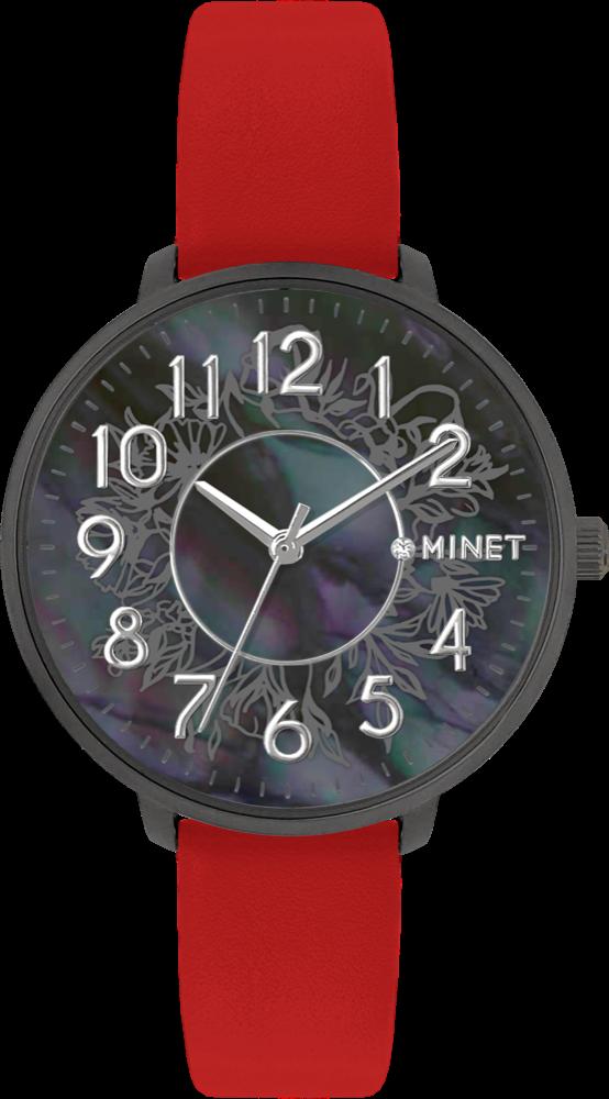 Červené dámské hodinky MINET PRAGUE Black Flower s čísly