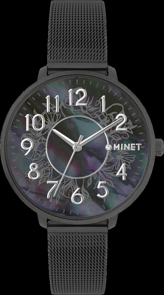 Černé dámské hodinky MINET PRAGUE Black Flower MESH s čísly