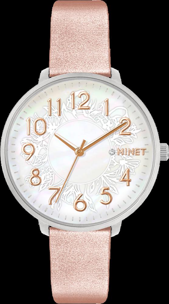 Rose gold dámské hodinky MINET PRAGUE Rose Flower s čísly