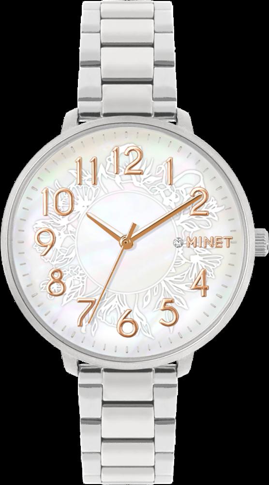 Stříbrno-růžové dámské hodinky MINET PRAGUE Rose Flower s čísly