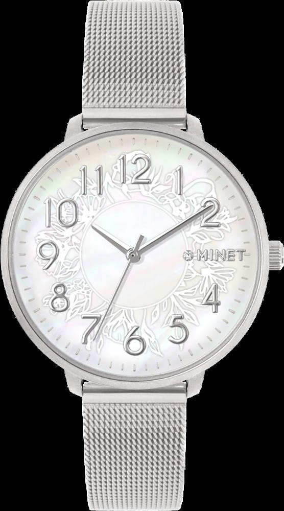 Stříbrné dámské hodinky MINET PRAGUE Silver Flower Mesh s čísly