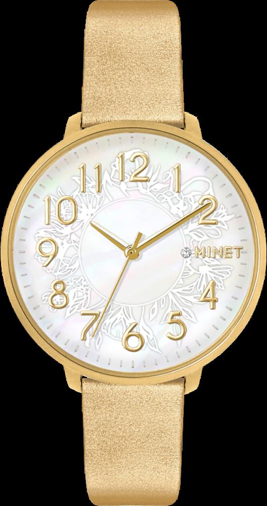 Zlaté dámské hodinky MINET PRAGUE Gold Flower s čísly