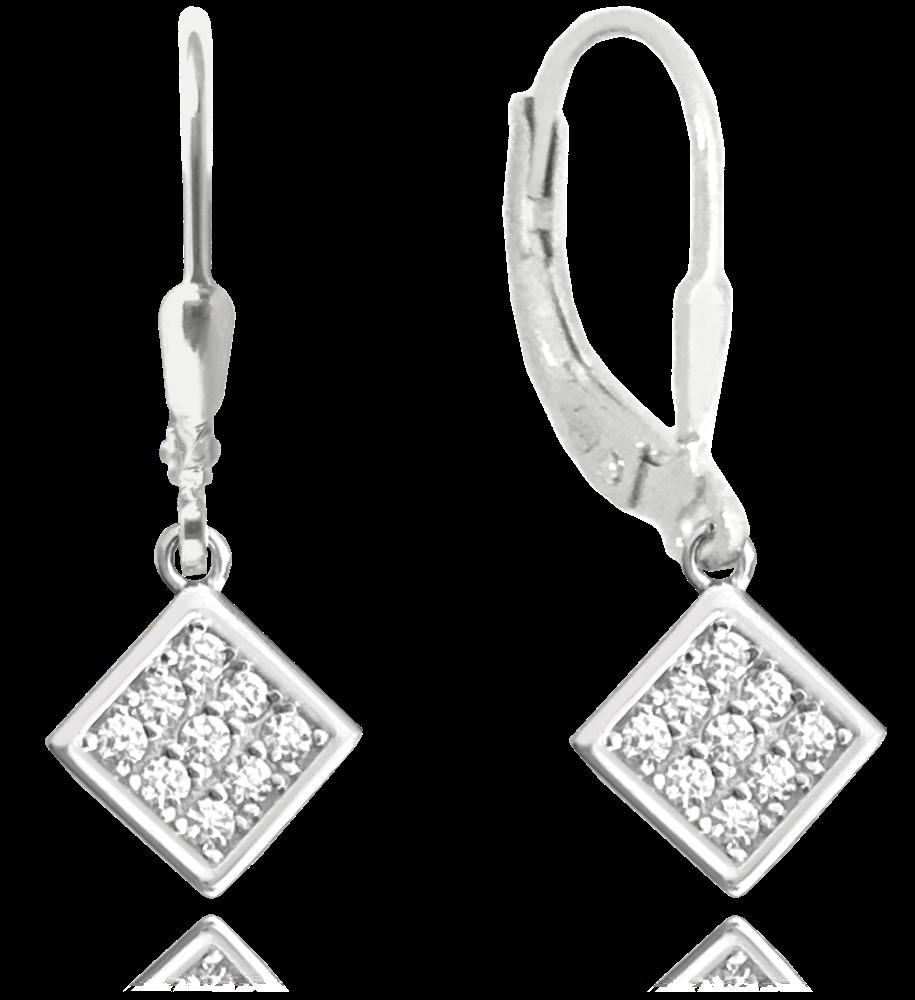 Decentní stříbrné náušnice MINET s bílými zirkony