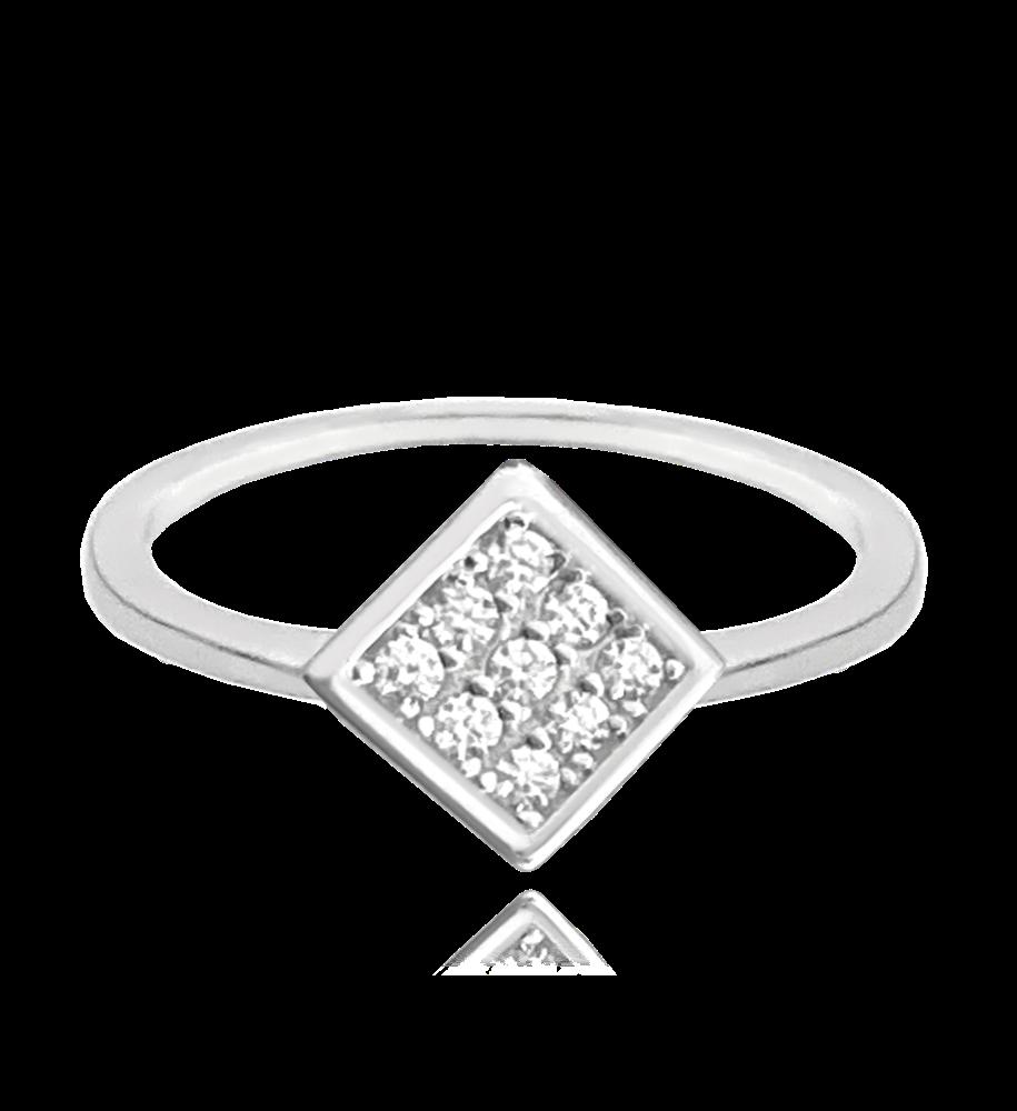 Decentní stříbrný prsten MINET s bílým zirkonem vel. 56
