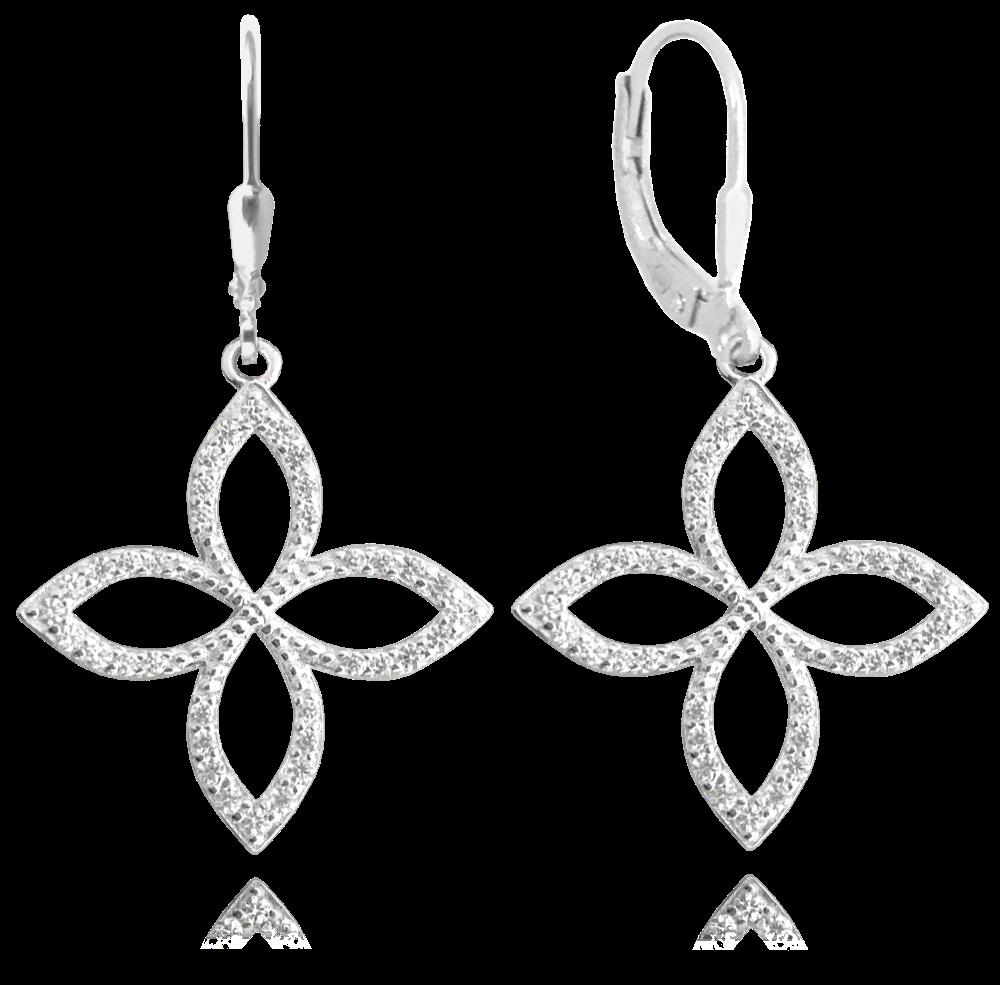 Luxusní stříbrné náušnice MINET s bílými zirkony