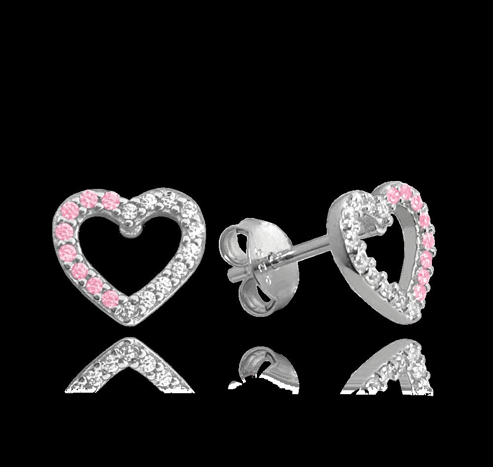 Stříbrné náušnice MINET SRDCE s bílými a růžovými zirkony