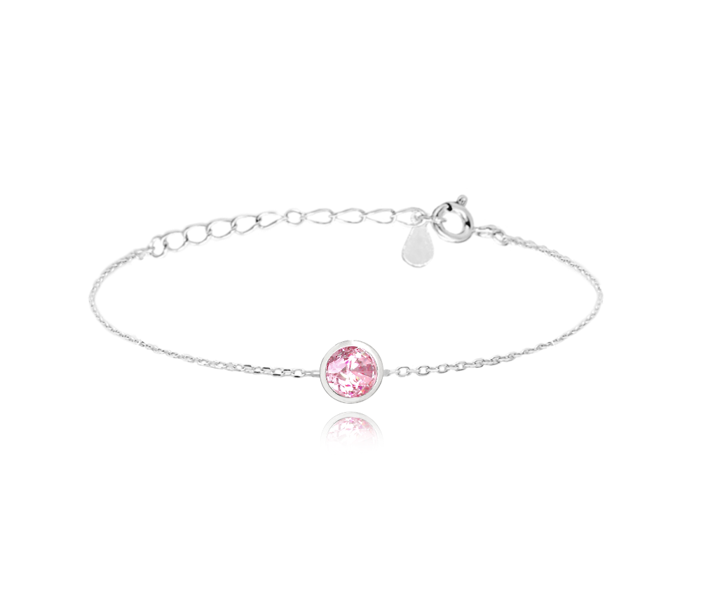 MINET Decentní stříbrný náramek MINET s růžovým zirkonem JMAS0096PB16