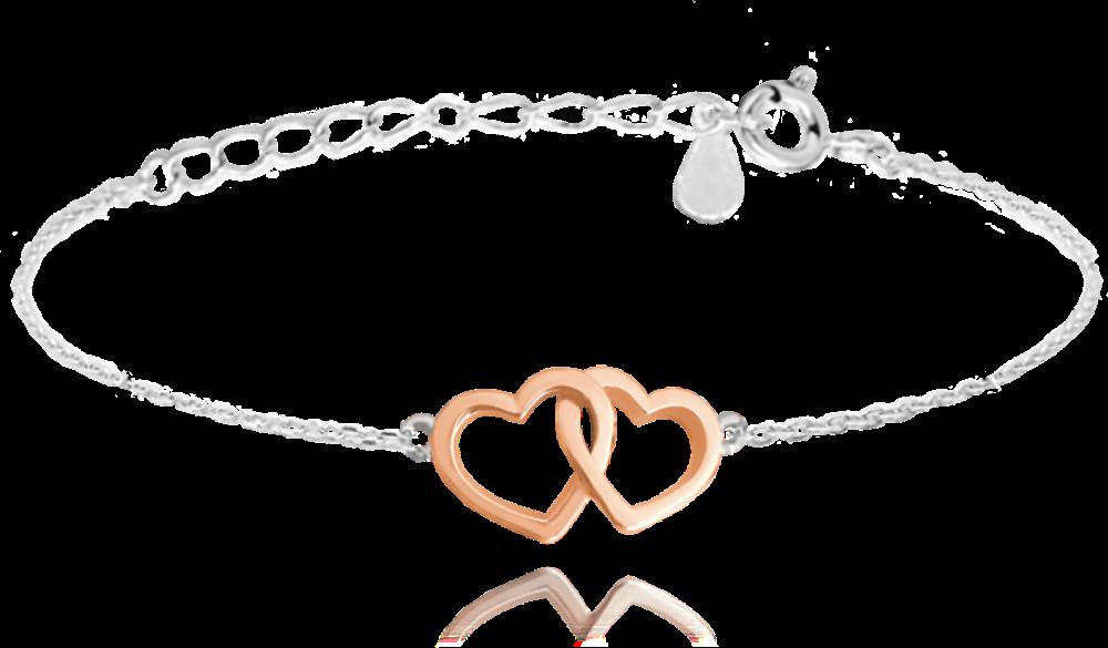 Stříbrný náramek MINET LOVE s Rose gold srdíčky