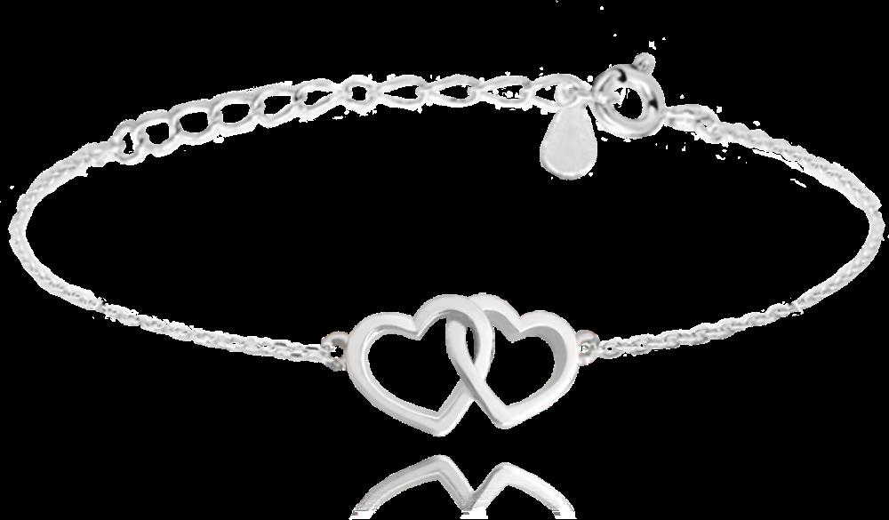MINET Stříbrný náramek MINET LOVE se srdíčky JMAS0106SB16