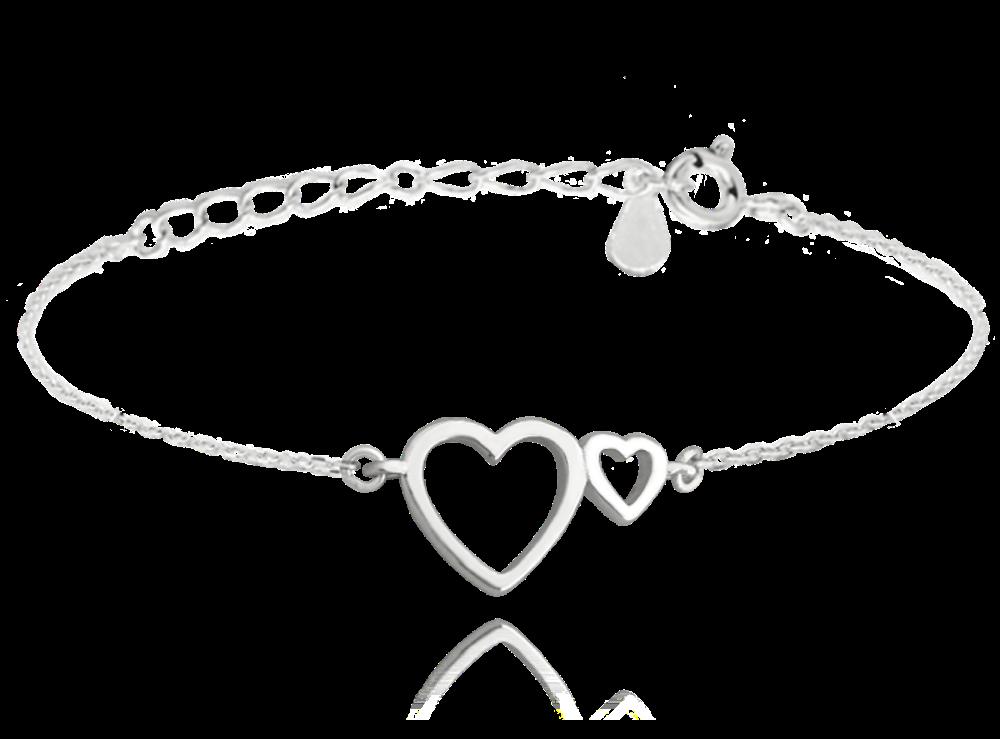 MINET Stříbrný náramek MINET LOVE se srdíčky JMAS0111SB16