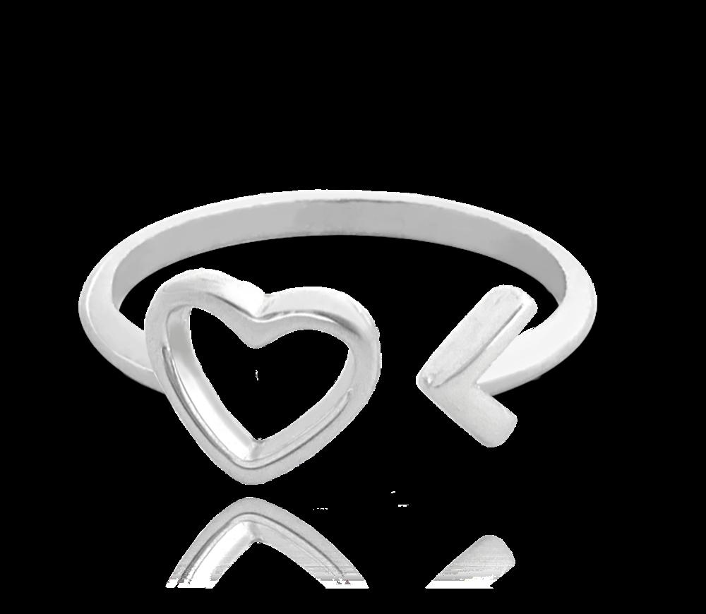 Stříbrný prsten MINET LOVE se srdíčkem vel. 54