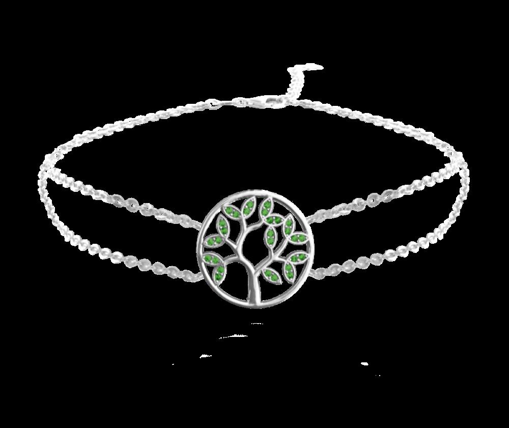 Stříbrný náramek MINET STROM ŽIVOTA se zelenými zirkony