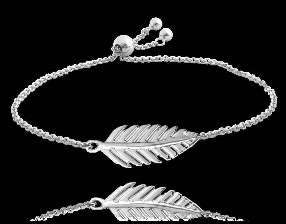 MINET Stříbrný náramek MINET PEŘÍČKO se stahovacím zapínáním JMAS5044SB16