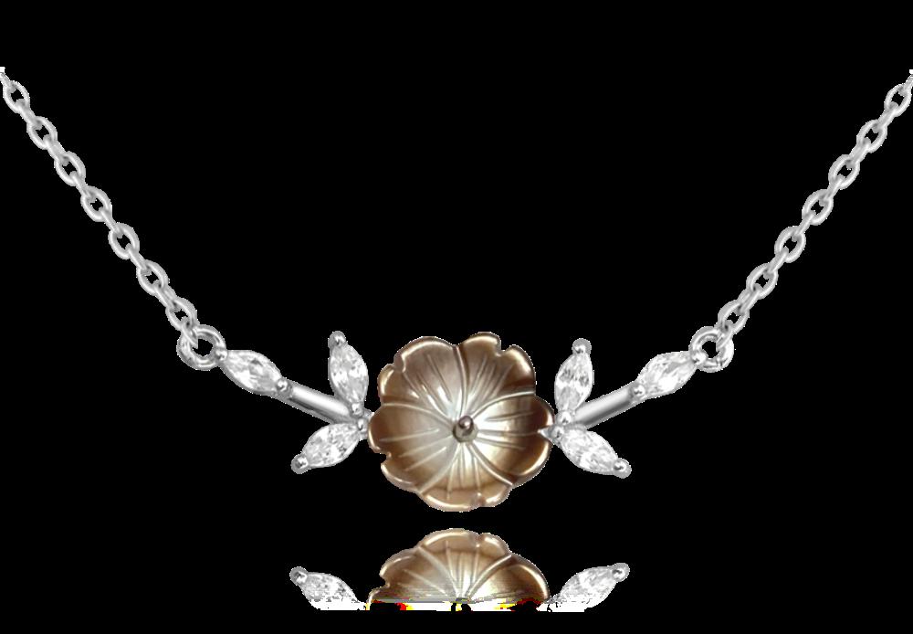 MINET Černý rozkvetlý stříbrný náhrdelník MINET FLOWERS se zirkony JMAS5055BN45