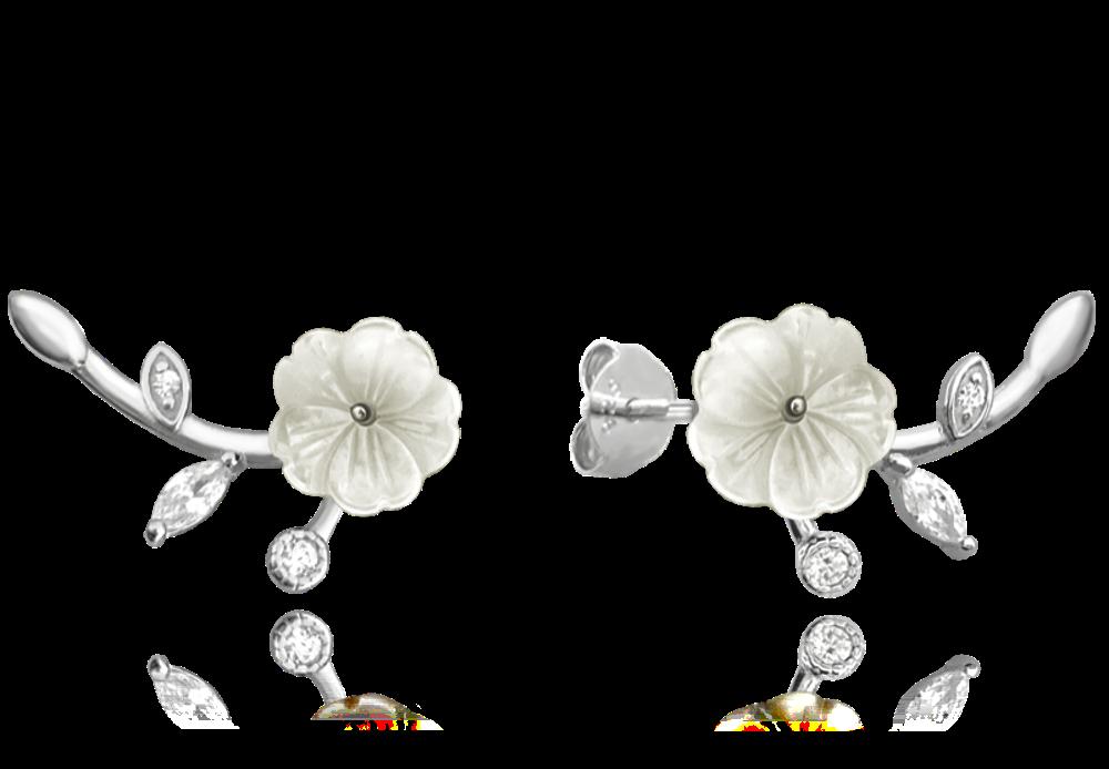 Bílé rozkvetlé stříbrné náušnice MINET FLOWERS se zirkony