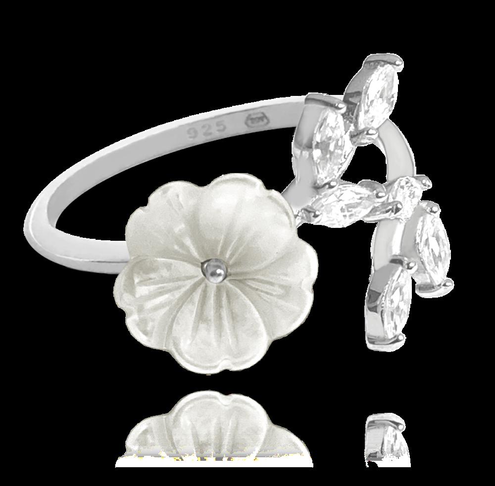 Bílý rozkvetlý stříbrný prsten MINET FLOWERS se zirkony vel. 54