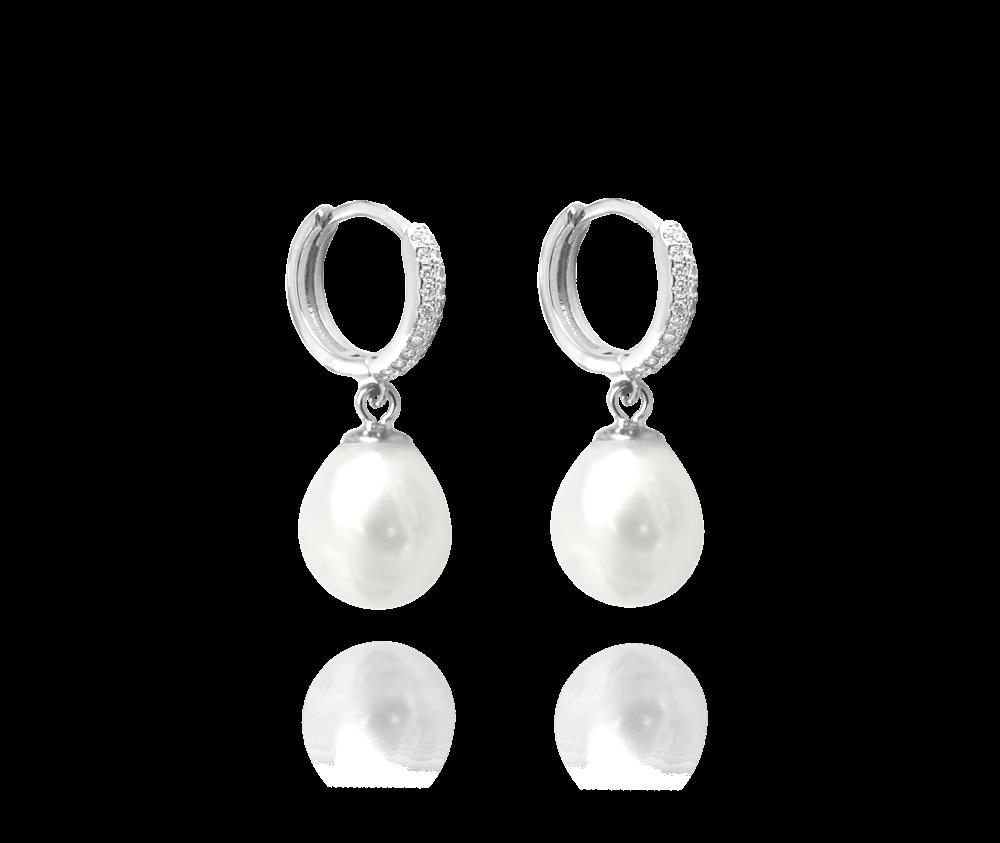 Stříbrné náušnice MINET přírodní perly s bílými zirkony