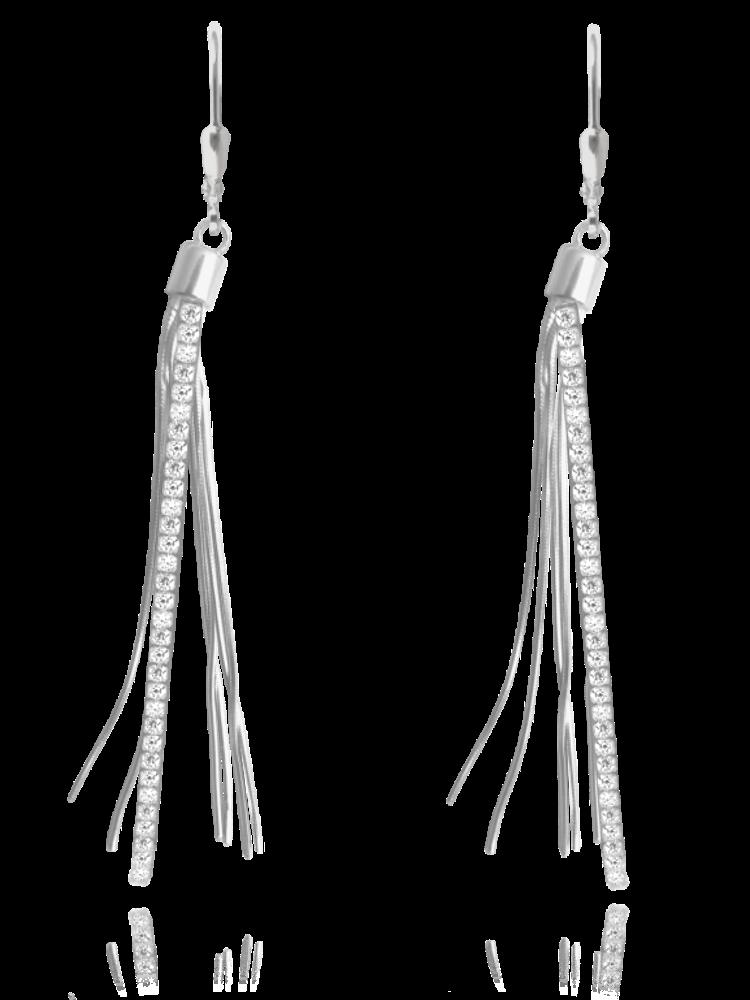 MINET Řetízkové stříbrné visací náušnice MINET s bílými zirkony JMAN0040SE00