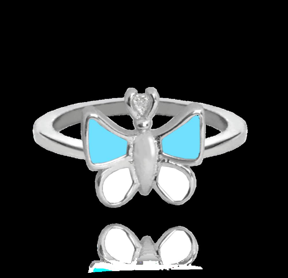 MINET Stříbrný prsten MINET MODRÝ MOTÝLEK vel. 46 JMAD0004BR46