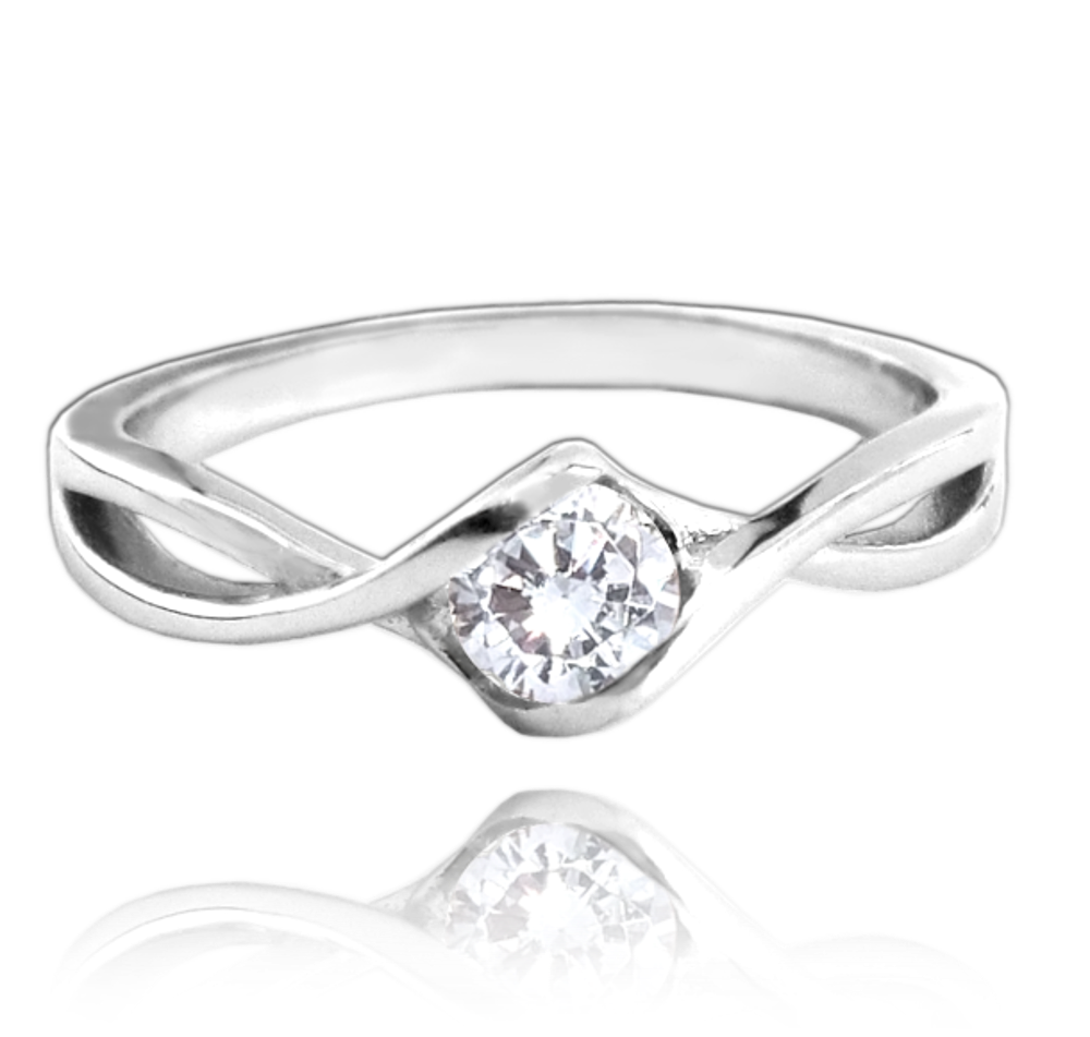MINET Stříbrný prsten MINET s bílým zirkonem vel. 54 JMAN0053SR54