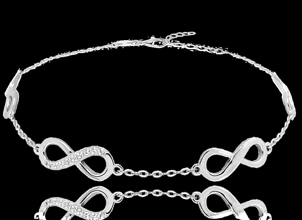 MINET Stříbrný náramek MINET NEKONEČNO se zirkony JMAN0076SB16