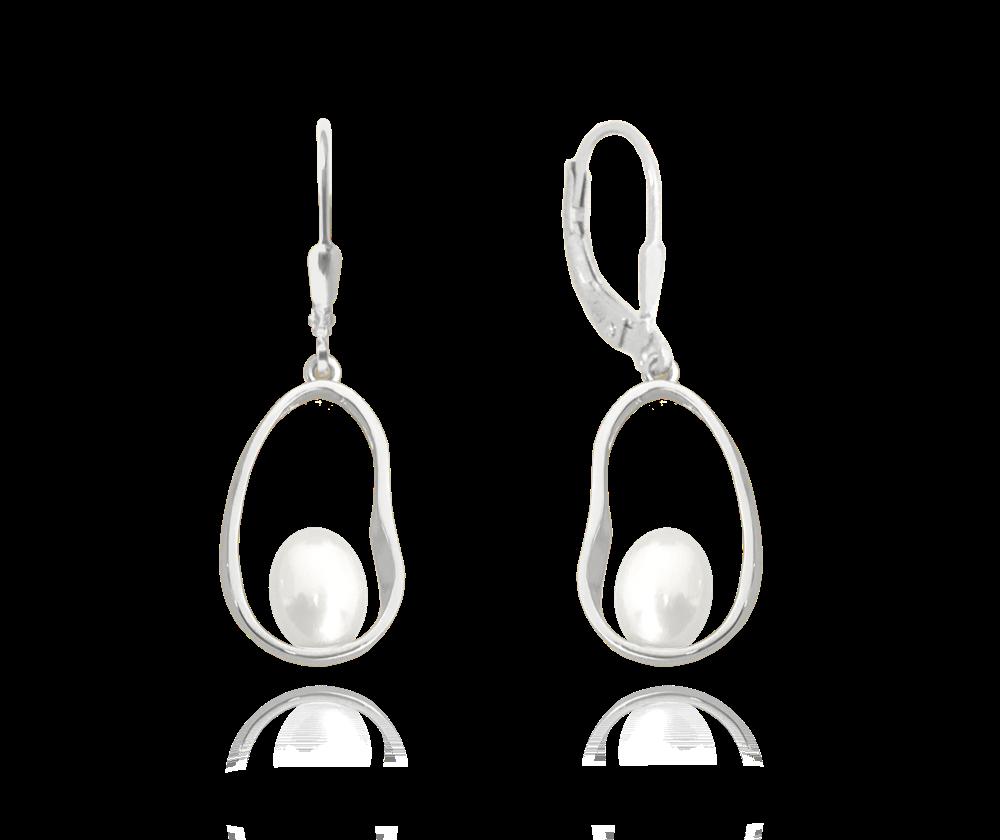 Stříbrné oválné náušnice MINET s perlami