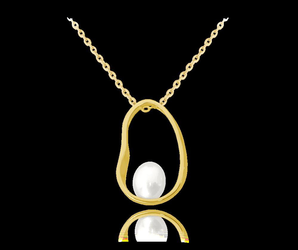 MINET Pozlacený stříbrný oválný náhrdelník MINET s perlou JMAS7020GN45
