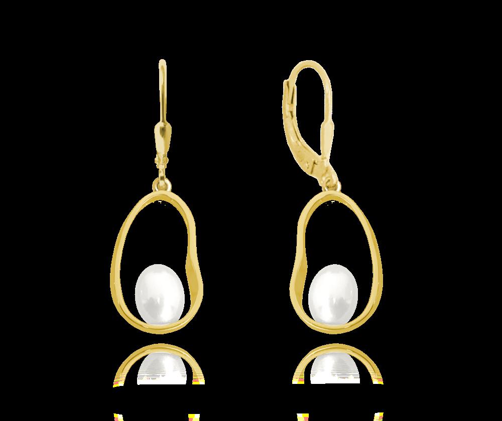 Pozlacené stříbrné oválné náušnice MINET s perlami